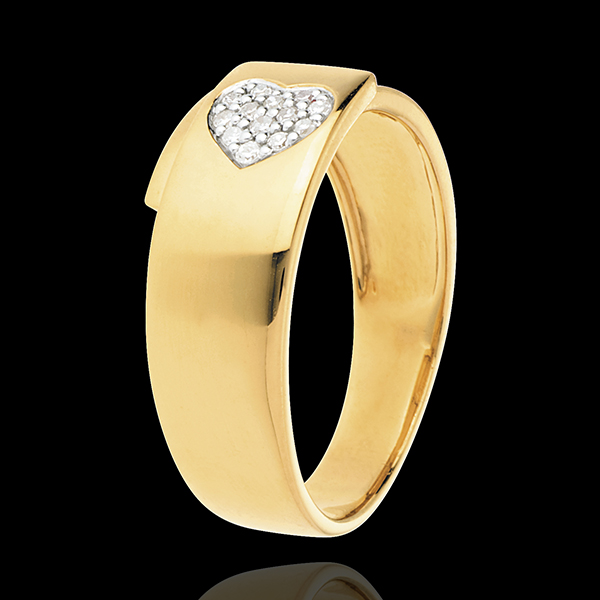Inel Infinit inimă spin din aur galben de 18K pavat - 13 diamante