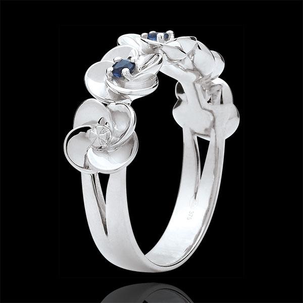 Inel Înflorire - Coroană de Trandafiri - aur alb de 18K şi safire