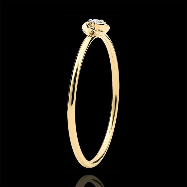 Inel Înflorire - Primul Trandafir - Model Mic - aur galben de 9K şi diamante