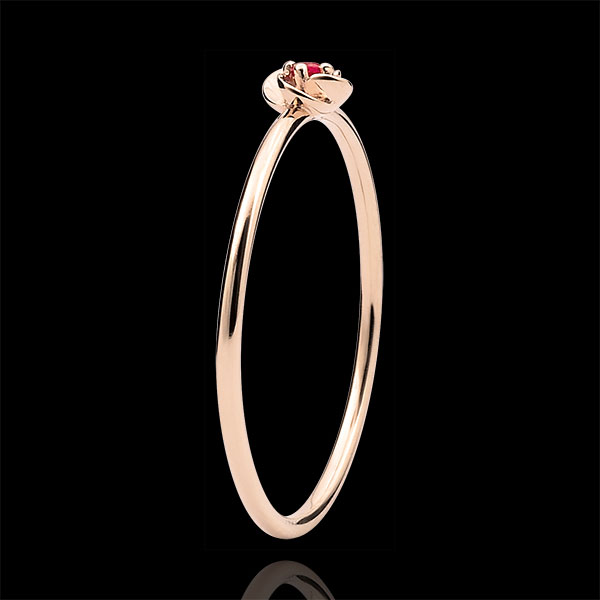 Inel Înflorire - Primul Trandafir - Model Mic - aur roz de 18K şi rubin