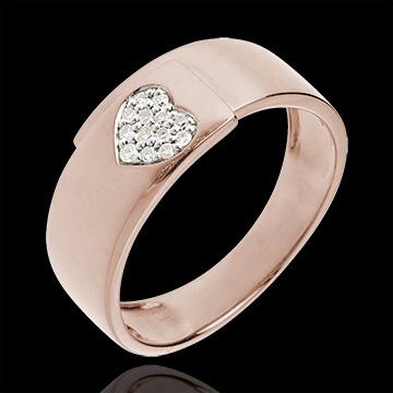 Inel inimă aur roz de 18K şi diamante