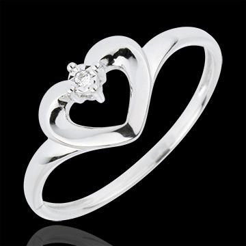 Inel Inimă Drăguţă - aur alb de 18K