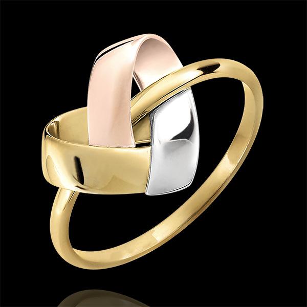Inel Inimă Împăturită 3 nuanțe de aur de 9K