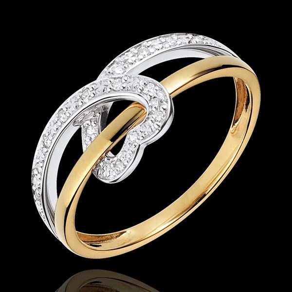 Inel Inimă Panglică două nuanţe - aur alb şi aur galben de 18K
