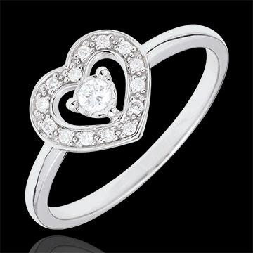 Inel Inimă Tiphanie - aur alb de 9K