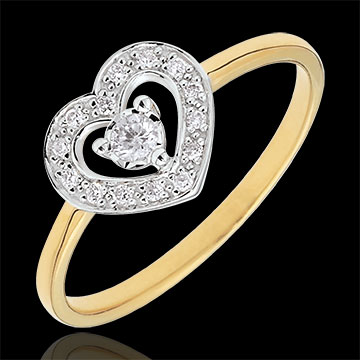 Inel Inimă Tiphanie - două nuanţe - aur alb şi aur galben de 18K