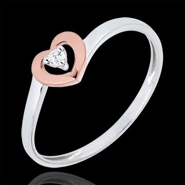 Inel Inimi Micuţe - diamant 0.03 carate - aur alb şi aur roz de 9K
