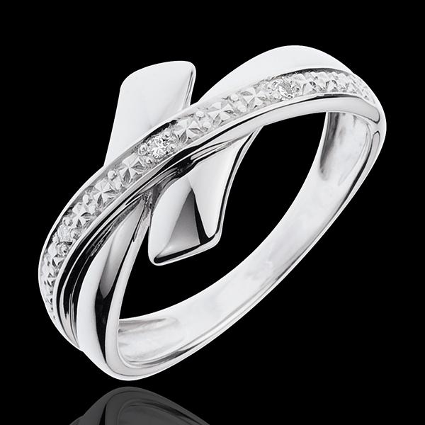 Inel Iniţiere Tribală din aur alb de 18K cu diamant