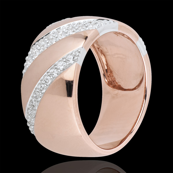 Inel Intens şi diamante - aur alb şi aur roz de 18K