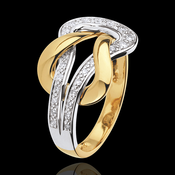 Inel Iubire Eternă - aur alb şi aur galben de 18K