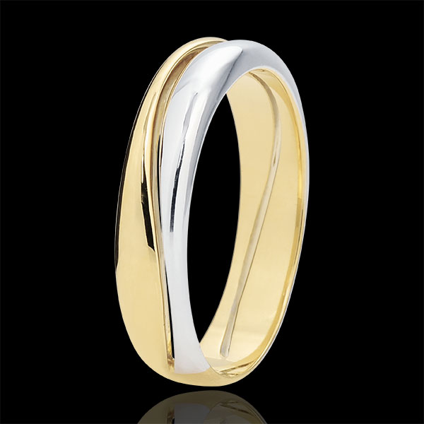 Inel Iubire - Verighetă pentru bărbaţi aur alb şi aur galben de 9K