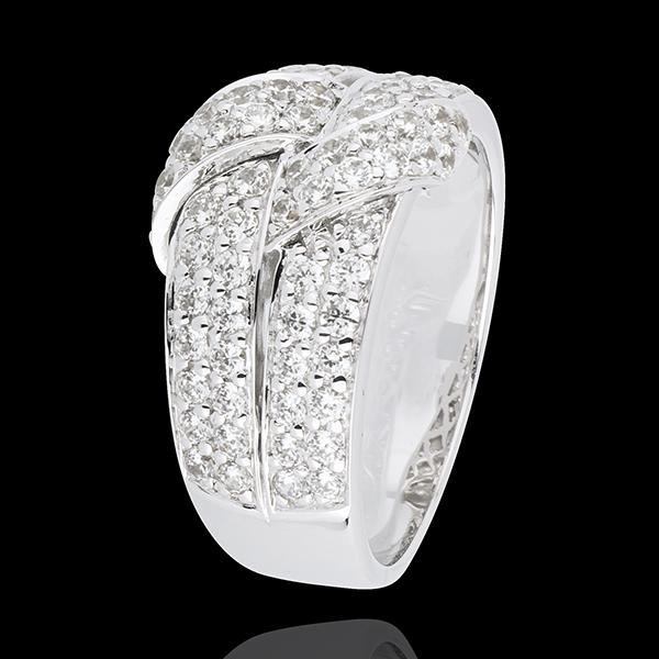 Inel legătură supremă diamante - aur alb de 18K