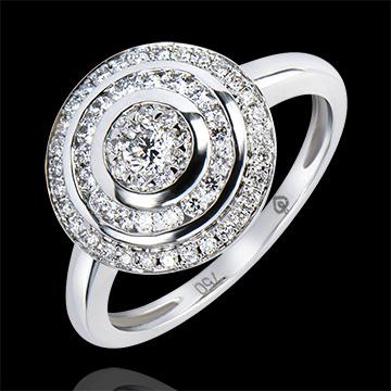 Inel de Logodnă Abundenţă - Inel Hipnoză - aur alb 9K şi diamante