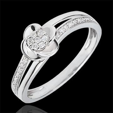 Inel de logodnă aur alb de 9K Petale de Trandafir - 0.075 carate
