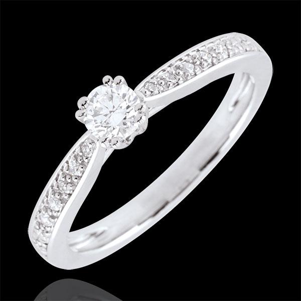 Inel de logodnă Aur Alb Solitaire Garlane 8 gheruţe - 0.19 carate - aur alb de 9K