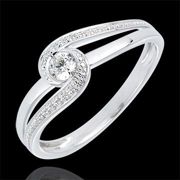 Inel de Logodnă Cuib Preţios - Preţioasă - aur alb de 18K - diamant de 0.12 carate