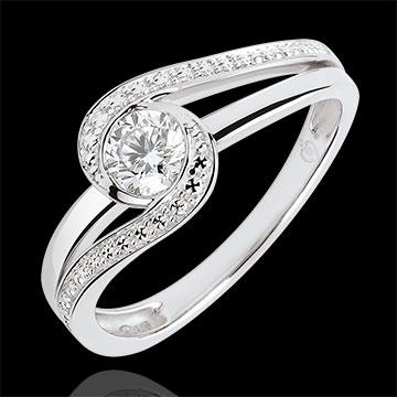 Inel de logodnă Cuib Preţios - Preţioasă - diamant 0.3 carate - aur alb de 9K