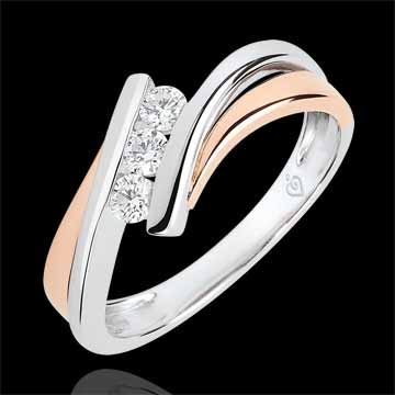 Inel de logodnă Cuib Preţios - Trilogie diamant model mare - aur roz şi aur alb de 9K