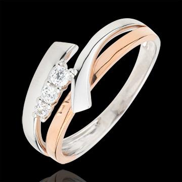 Inel de logodnă Cuib Preţios - Trilogie variantă - 3 diamante - aur alb şi aur roz de 18K