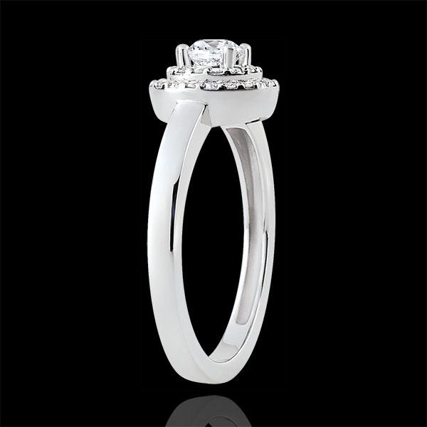 Inel de logodnă Destin - Double Halo - diamant 0.25 carate - aur alb de 18K