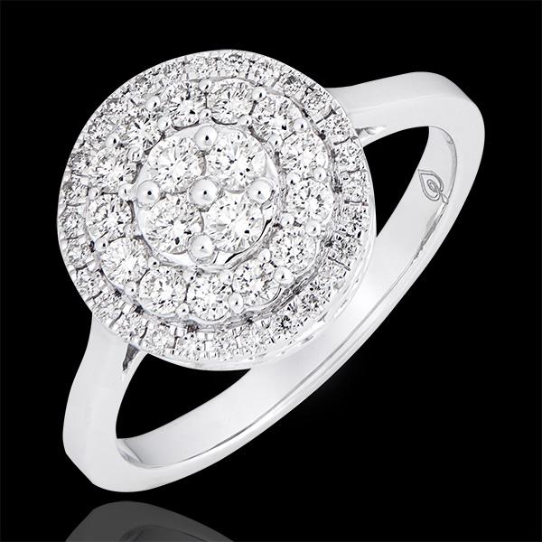 Inel de logodnă Destin - Dublu halo nefațetat - Aur alb de 18k și diamante