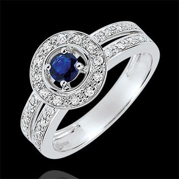 Inel de logodnă Destin - Lady - safir 0.2 carate şi diamante - aur alb de 18K