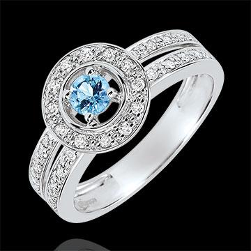 Inel de logodnă Destin - Lady - topaz 0.2 carate şi diamante - aur alb de 18K