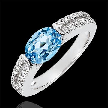 Inel de logodnă Victoria - topaz 1.5 carate şi diamante - aur alb de 18K