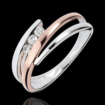 Inel de logodnă Cuib Preţios - Trilogie de diamante - 3 diamante - aur alb şi aur roz de 18K