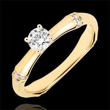 Inel de logodnă Junglă Sacră - diamant 0.2 carate - aur galben de 9K