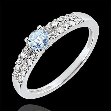 Inel de logodnă Margot - acvamarin 0.23 carate şi diamante - aur alb de 18K