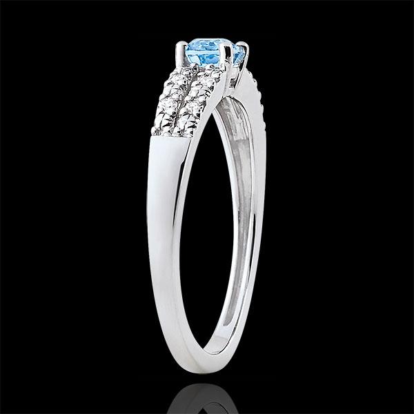 Inel de logodnă Margot - topaz 0.3 carate şi diamante - aur alb de 18K