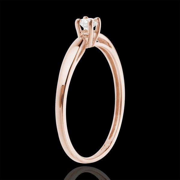 Inel de logodnă solitaire aur roz de 18K - 0.1 carat