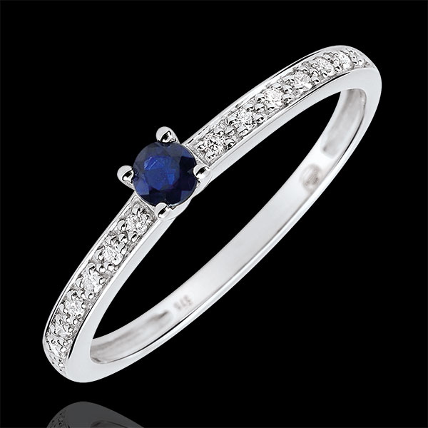 Inel de logodnă Solitaire Boreal - safir 0.12 carate şi diamante - aur alb de 9K