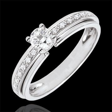 Inel de logodnă Solitaire Destin - Regina Mea - variantă - aur alb de 18K