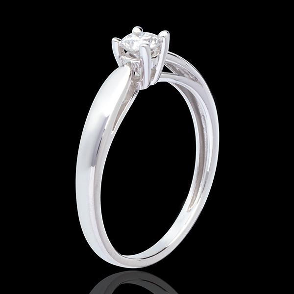 Inel de logodnă Solitaire Mlădiere din aur alb de 18K - 0.25 carate