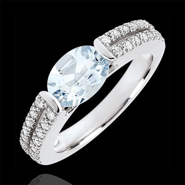 Inel de logodnă Victoria - acvamarin 1.2 carate şi diamante - aur alb de 18K