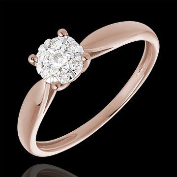 Inel mlădiere aur roz de 18K sferă pavată - 0.12 carate