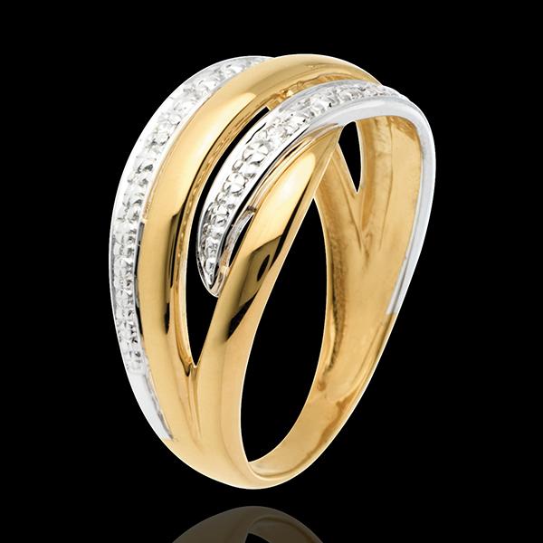 Inel Naja pavat - 4 diamante - aur alb şi aur galben de 18K