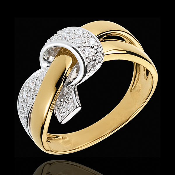 Inel Nod sincer - aur alb şi aur galben de 18K