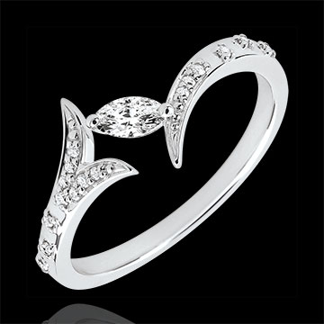 Inel Păduri Misterioase - Model mic - aur alb de 18K şi diamant marquise