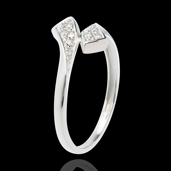 Inel Panglică din aur alb de 18K pavat - 10 diamante