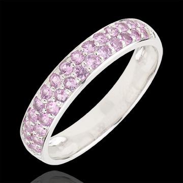 Inel Pasăre din Paradis - două şiruri - aur alb de 9K şi safir roz