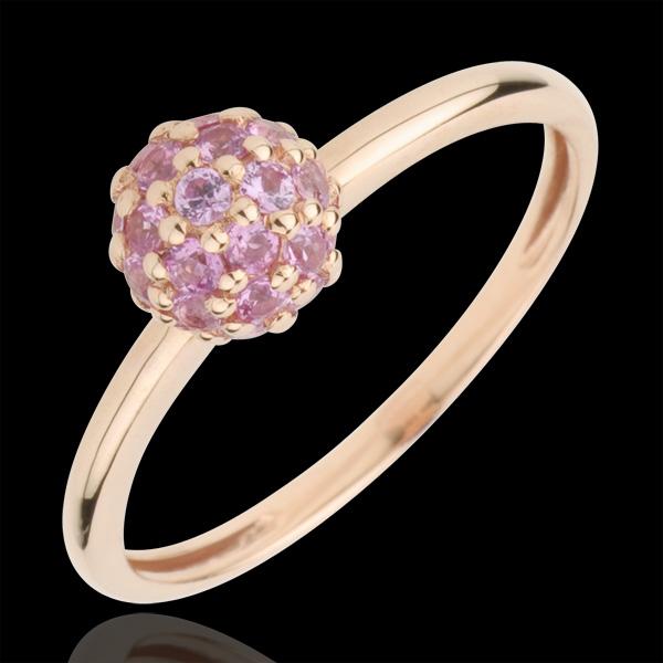 Inel Pasăre din Paradis - sferă - aur roz de 9K şi safir roz