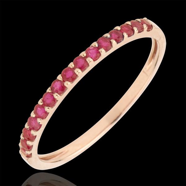 Inel Pasăre din Paradis - un şir - aur roz de 9K şi rubin