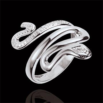 Inel Plimbare Imaginară - Ameninţare Preţioasă - aur alb de 9K şi diamante