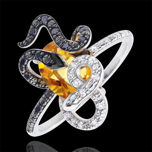 Inel Plimbare Imaginară - Gorgonia - Argint, diamante şi pietre fine