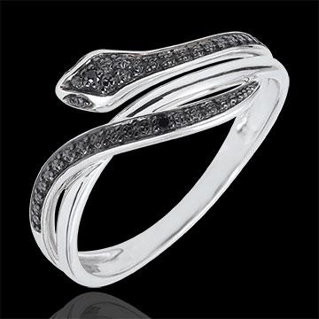 Inel Plimbare Imaginară - Şarpe Ademenitor - aur alb de 18K şi diamante negre