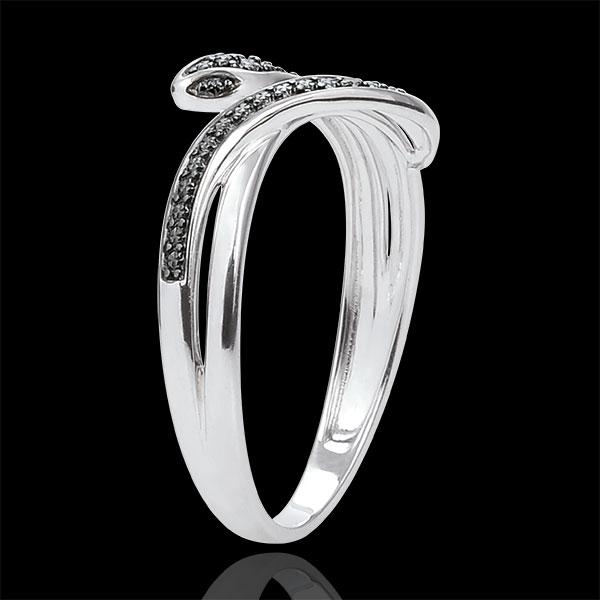 Inel Plimbare Imaginară - Şarpe Ademenitor - aur alb de 9K şi diamante negre