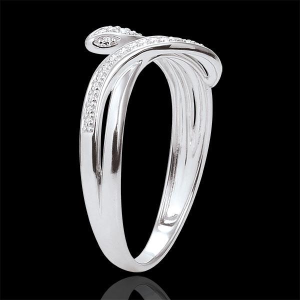 Inel Plimbare Imaginară - Şarpe Ademenitor - aur alb de 9K şi diamante